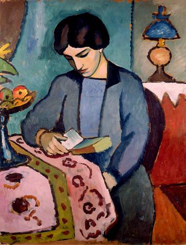 August macke jeune femme en bleu lisant 1912