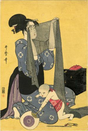 Kitagawa utamaro travail d aiguille