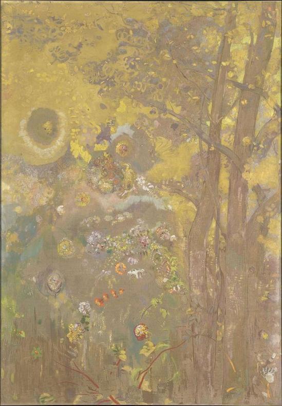 Odilon redon trees on a yellow background